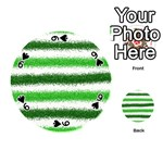 Metallic Green Glitter Stripes Playing Cards 54 (Round)  Front - Spade9