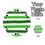 Metallic Green Glitter Stripes Playing Cards 54 (Round)  Front - Spade10