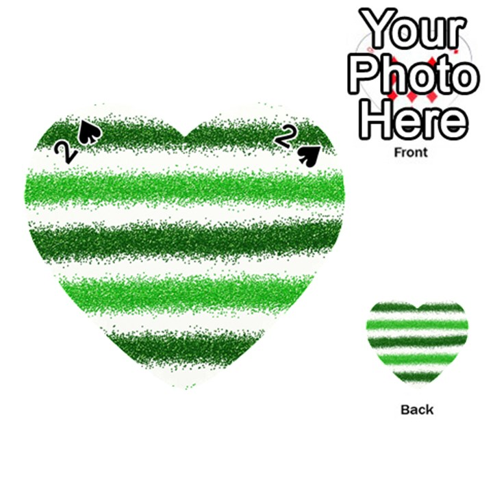 Metallic Green Glitter Stripes Playing Cards 54 (Heart)