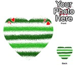 Metallic Green Glitter Stripes Playing Cards 54 (Heart)  Front - Heart7