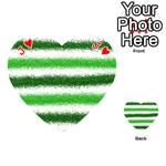 Metallic Green Glitter Stripes Playing Cards 54 (Heart)  Front - HeartJ