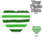 Metallic Green Glitter Stripes Playing Cards 54 (Heart)  Back