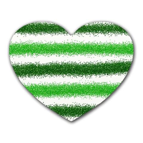 Metallic Green Glitter Stripes Heart Mousepads
