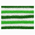 Metallic Green Glitter Stripes Large Glasses Cloth (2-Side) Front