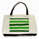Metallic Green Glitter Stripes Basic Tote Bag (Two Sides) Front