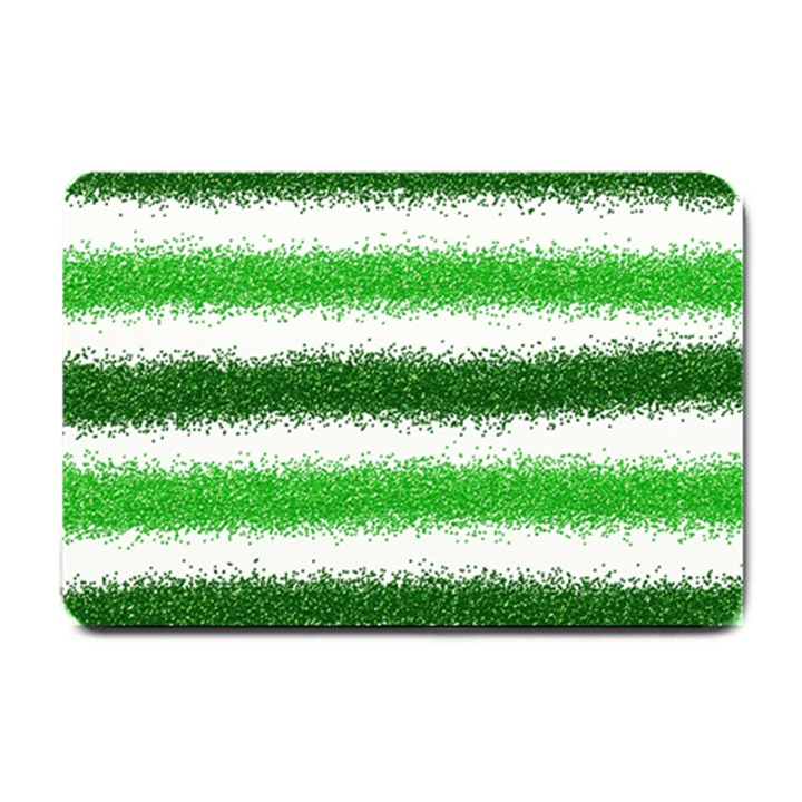 Metallic Green Glitter Stripes Small Doormat