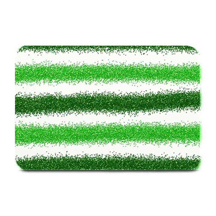 Metallic Green Glitter Stripes Plate Mats