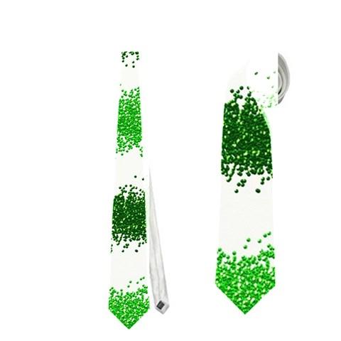 Metallic Green Glitter Stripes Neckties (Two Side)