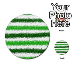 Metallic Green Glitter Stripes Multi-purpose Cards (Round)