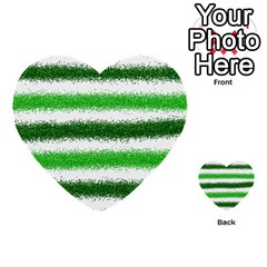 Metallic Green Glitter Stripes Multi-purpose Cards (Heart)