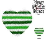 Metallic Green Glitter Stripes Multi-purpose Cards (Heart)  Front 2