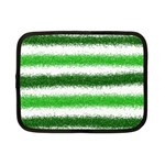 Metallic Green Glitter Stripes Netbook Case (Small)  Front