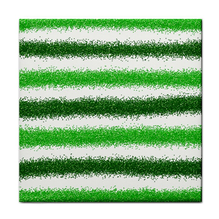 Metallic Green Glitter Stripes Face Towel