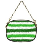 Metallic Green Glitter Stripes Chain Purses (One Side)  Front