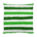 Metallic Green Glitter Stripes Standard Cushion Case (Two Sides) Back