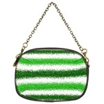 Metallic Green Glitter Stripes Chain Purses (Two Sides)  Front