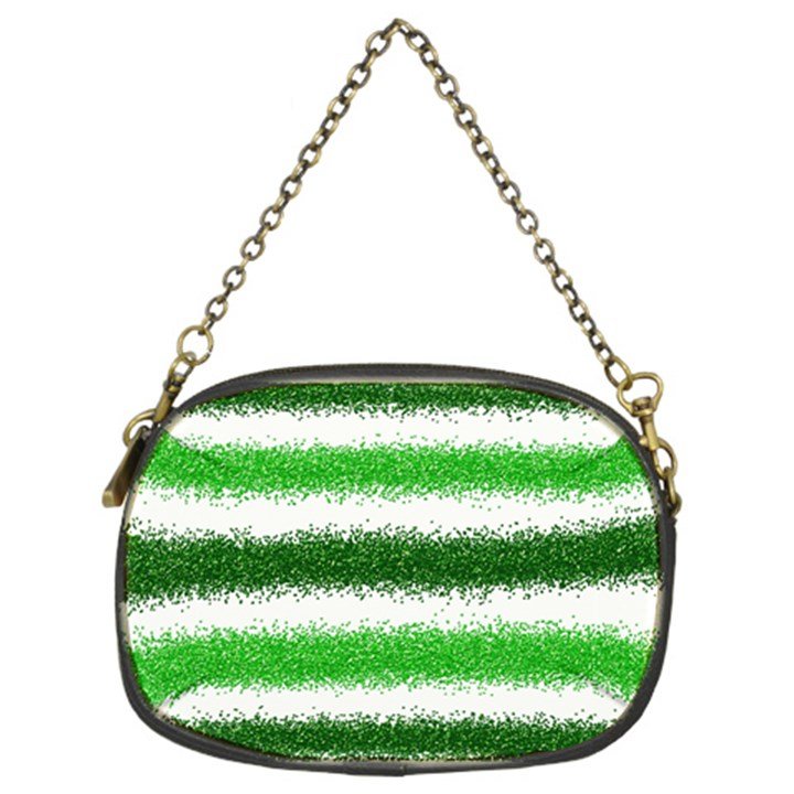 Metallic Green Glitter Stripes Chain Purses (Two Sides)