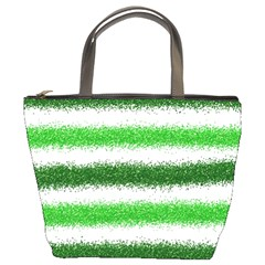 Metallic Green Glitter Stripes Bucket Bags