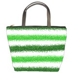 Metallic Green Glitter Stripes Bucket Bags Front
