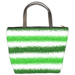 Metallic Green Glitter Stripes Bucket Bags Back