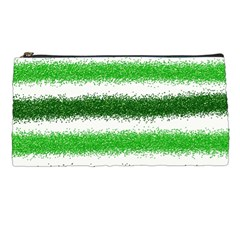 Metallic Green Glitter Stripes Pencil Cases