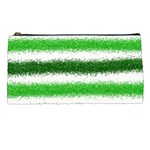 Metallic Green Glitter Stripes Pencil Cases Front