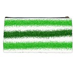 Metallic Green Glitter Stripes Pencil Cases Back