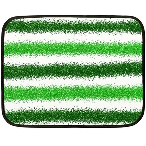 Metallic Green Glitter Stripes Double Sided Fleece Blanket (Mini)