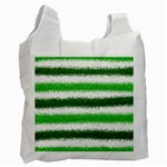 Metallic Green Glitter Stripes Recycle Bag (One Side) Front