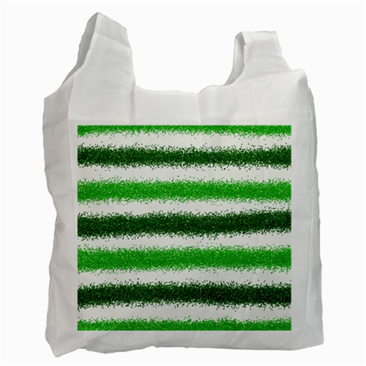 Metallic Green Glitter Stripes Recycle Bag (Two Side)