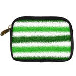 Metallic Green Glitter Stripes Digital Camera Cases Front