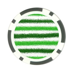 Metallic Green Glitter Stripes Poker Chip Card Guards (10 pack)