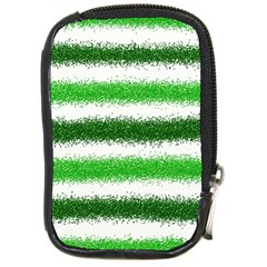 Metallic Green Glitter Stripes Compact Camera Cases