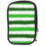 Metallic Green Glitter Stripes Compact Camera Cases Front