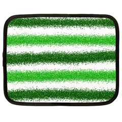 Metallic Green Glitter Stripes Netbook Case (XL)