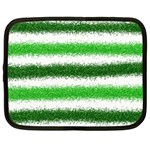 Metallic Green Glitter Stripes Netbook Case (XL)  Front