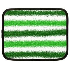 Metallic Green Glitter Stripes Netbook Case (XXL)