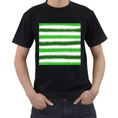 Metallic Green Glitter Stripes Men s T-Shirt (Black)
