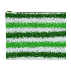 Metallic Green Glitter Stripes Cosmetic Bag (XL)