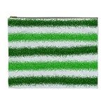 Metallic Green Glitter Stripes Cosmetic Bag (XL) Front