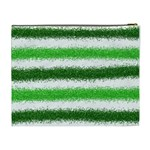 Metallic Green Glitter Stripes Cosmetic Bag (XL) Back