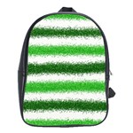 Metallic Green Glitter Stripes School Bags(Large)  Front