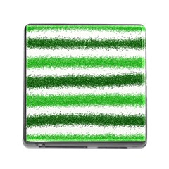 Metallic Green Glitter Stripes Memory Card Reader (Square)