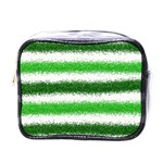 Metallic Green Glitter Stripes Mini Toiletries Bags Front