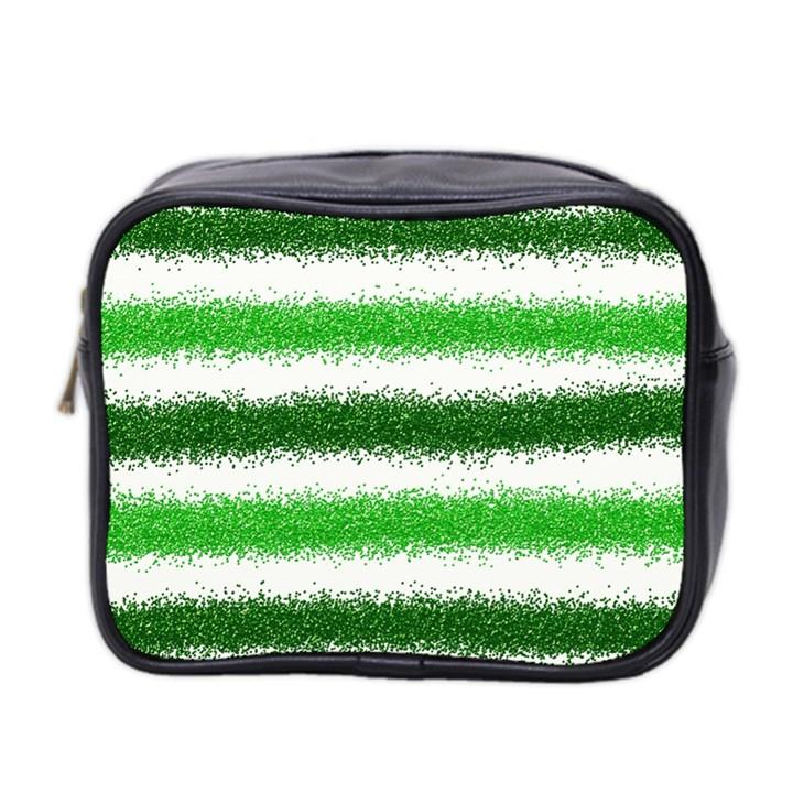 Metallic Green Glitter Stripes Mini Toiletries Bag 2-Side