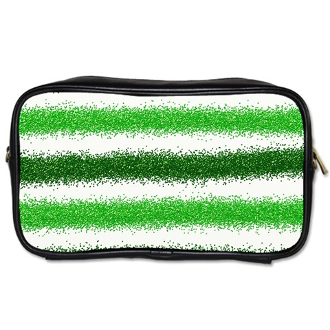 Metallic Green Glitter Stripes Toiletries Bags