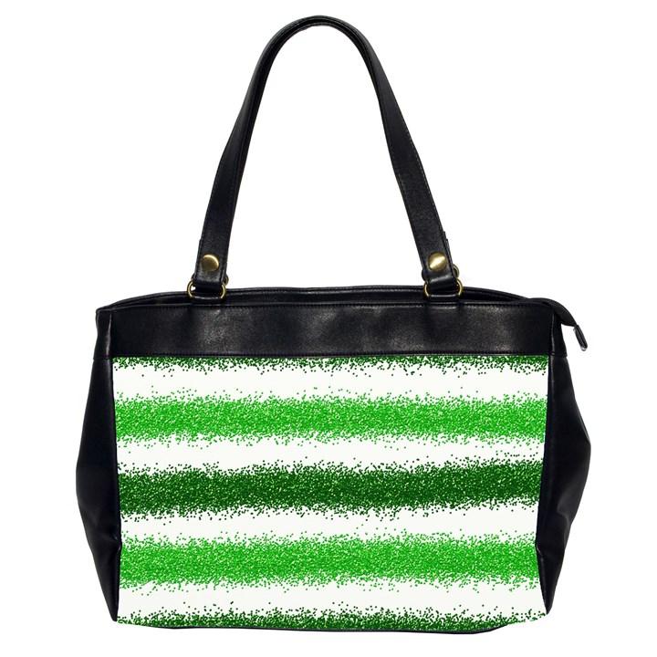 Metallic Green Glitter Stripes Office Handbags (2 Sides)