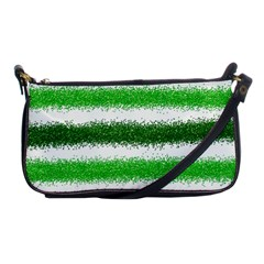 Metallic Green Glitter Stripes Shoulder Clutch Bags