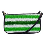 Metallic Green Glitter Stripes Shoulder Clutch Bags Front