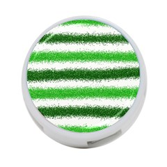 Metallic Green Glitter Stripes 4-Port USB Hub (One Side)